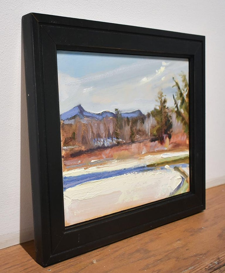 Fall Snowfall: Impressionist Style En Plein Air Landscape Painting, Framed For Sale 2