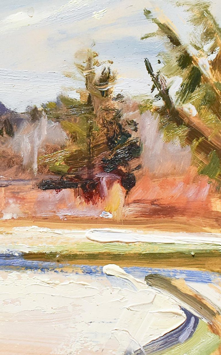 Fall Snowfall: Impressionist Style En Plein Air Landscape Painting, Framed For Sale 4