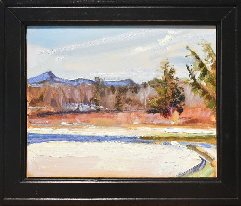 En plein air, Impressionist style Hudson Valley winter landscape painting of the Catskill mountains and sienna orange foliage under a blue sky Landscape painting with a blue, green, white and earth toned palette Oil on panel, 8.5 x 10 inches