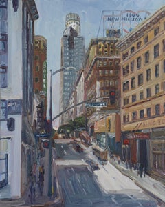 5th and Los Angeles Streets, Painting, Oil on Canvas