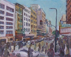 7th and Broadway, Painting, Oil on Canvas