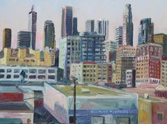 Downtown Los Angeles Rooftop View, Painting, Oil on Canvas
