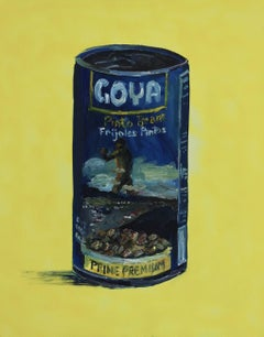 Goya's Colossus on a can of beans, Painting, Oil on Canvas