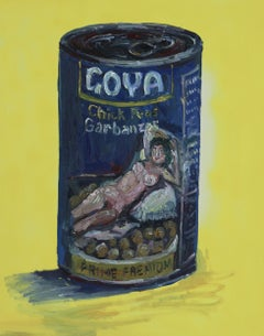 Goya's Nude Maja on a can of beans, Painting, Oil on Canvas