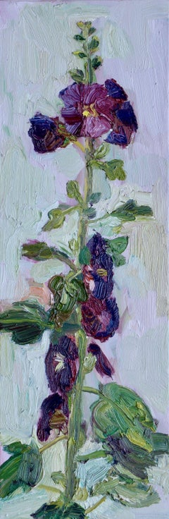 Hollyhock Plein Air #2, Painting, Oil on Canvas