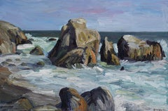 Leo Carrillo Beach Rocks #1, Painting, Oil on Canvas