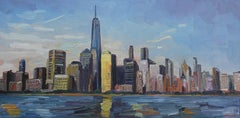 New York Skyline, Painting, Oil on Canvas