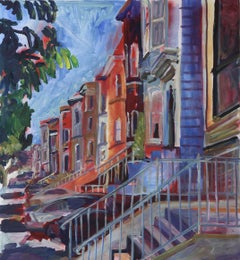 San Fransisco Victorians, Painting, Acrylic on Canvas