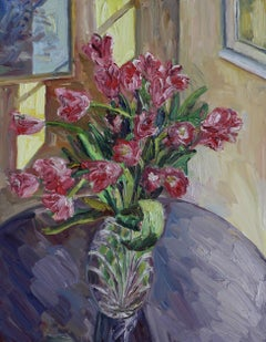 Tulips in a vase, Painting, Oil on Canvas