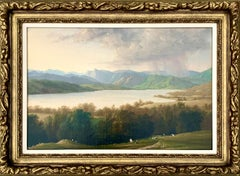 19th century British lake landscape with sheep, figures and a storm shower.