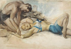 Woman in Blue Two-Piece Bathing Suit Laying on Beach with Man in Bathing Su