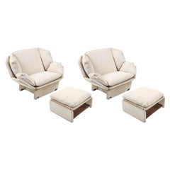 John Lautner Style Pair of Lounge Chairs in Cream Wool