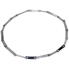 John Lewis Boston Modernist Hand Hammered Sterling Silver Link Necklace