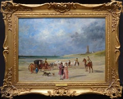 A Day at the Beach - 19th Century French Impressionist Landscape Oil Painting
