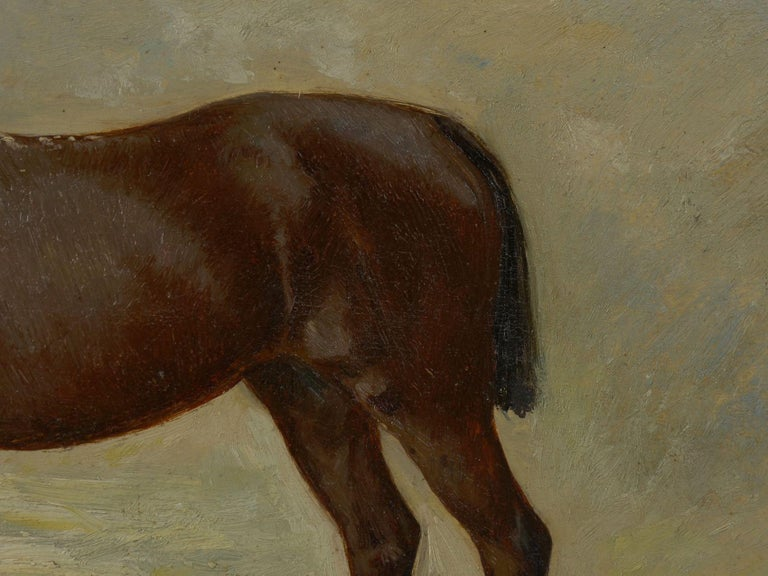 John Lewis Shonborn (American, 1852-1931) Equestrian Thoroughbred Oil Painting For Sale 3