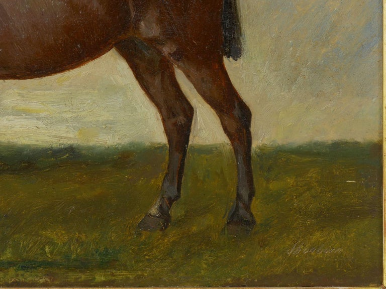 John Lewis Shonborn (American, 1852-1931) Equestrian Thoroughbred Oil Painting For Sale 4