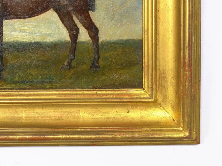 John Lewis Shonborn (American, 1852-1931) Equestrian Thoroughbred Oil Painting For Sale 8