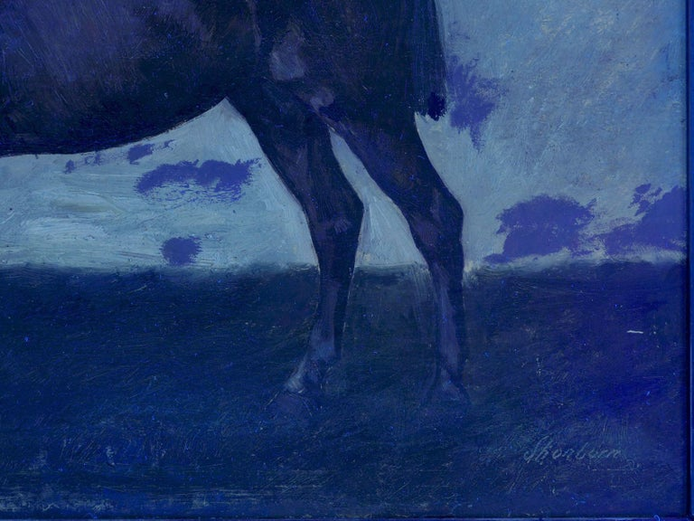 John Lewis Shonborn (American, 1852-1931) Equestrian Thoroughbred Oil Painting For Sale 12