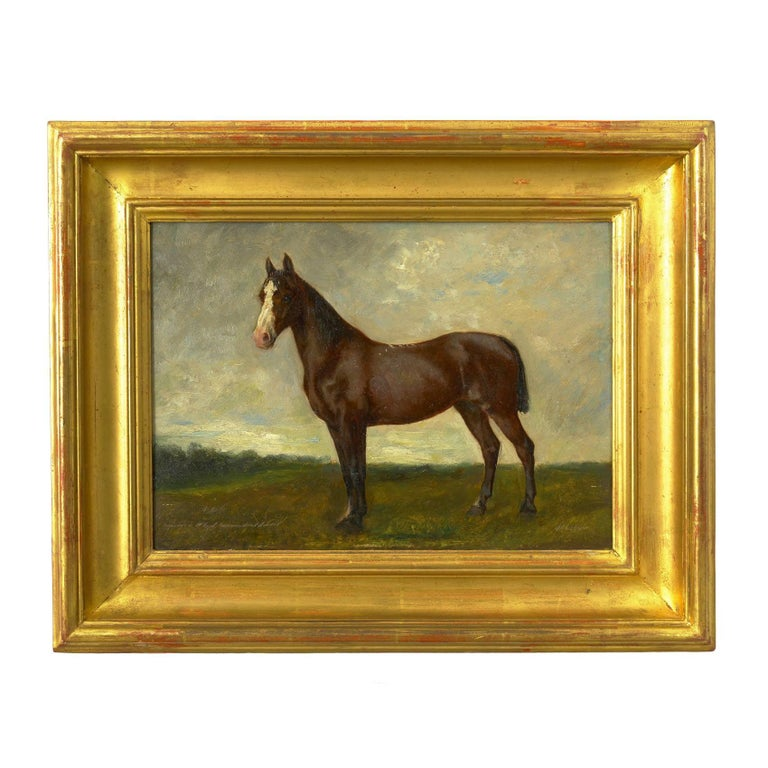 A moody and romantic work, this painting captures a thoroughbred standing before a Stark landscape under a gloomy sky. There is a serenity to the painting with soft light surrounding the horse as he stands large above the observer. Partially