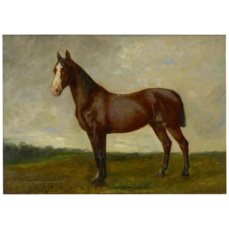 John Lewis Shonborn (American, 1852-1931) Equestrian Thoroughbred Oil Painting For Sale