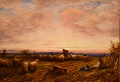 "Oil Painting by John Linnell Royal Academy ""Feeding Sheep"""