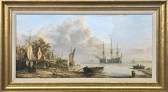 Dutch Coastal Scene by British Maritime Realist Painting of a 19th Century Scene