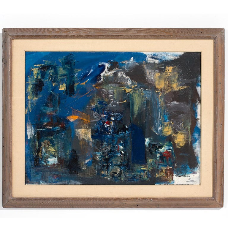"""John Little Abstract Painting - """"Blue Nocturne"""" Abstract Oil Painting in Predominant Blues"""