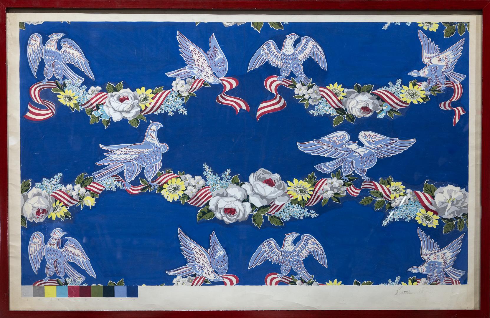 """Wallpaper Studies"" Eagles, Flowers, Bunting, Color Code Bar, Decorative, Colors"