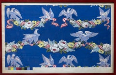 """Wallpaper Studies"" Eagles, Flowers, Bunting, Color Code Bar, Decorative, Colors"
