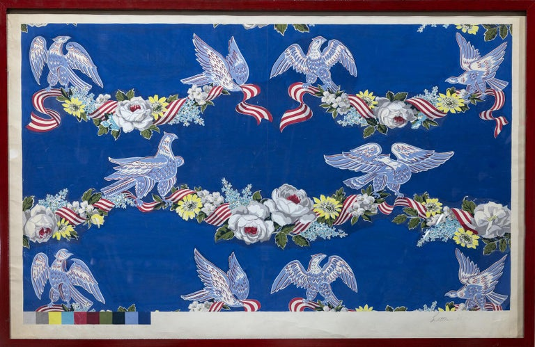 """""""Wallpaper Studies"""" Eagles, Flowers, Bunting, Color Code Bar, Decorative, Colors - Painting by John Little"""