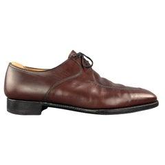 JOHN LOBB Size 11 Burgundy Leather Split Apron Toe PORTMAN Lace Up