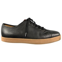 JOHN LOBB Size 8 Black Leather Lace Up Rubber Sole Sneakers
