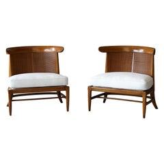 John Lubberts & Lambert Mulder for Tomlinson, Slipper Chairs, Cane, Walnut, 1950