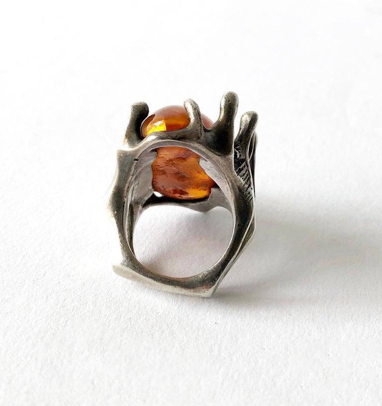 Women's John M. Morgan Sterling Silver Amber American Brutalist Ring For Sale