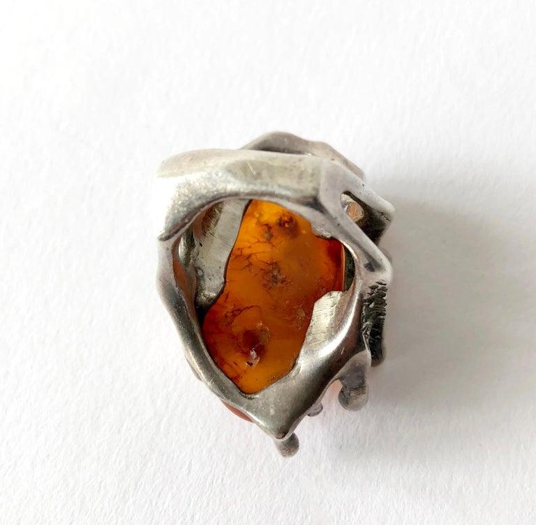 John M. Morgan Sterling Silver Amber American Brutalist Ring For Sale 1
