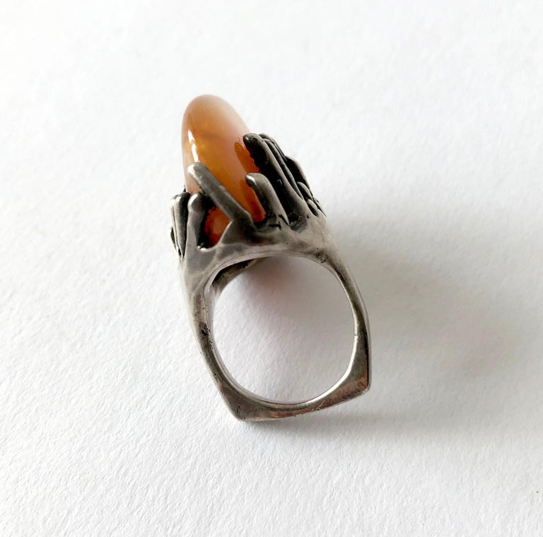 John M. Morgan Sterling Silver Amber American Modernist Ring In Good Condition For Sale In Los Angeles, CA