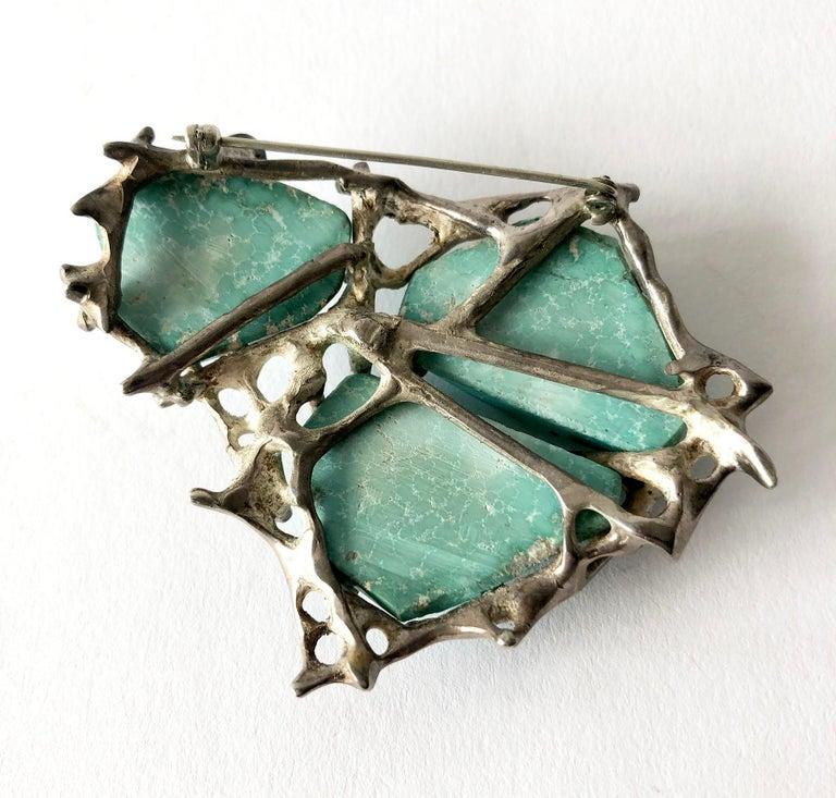 Modernist John M. Morgan Sterling Silver Turquoise Brutalist Brooch For Sale