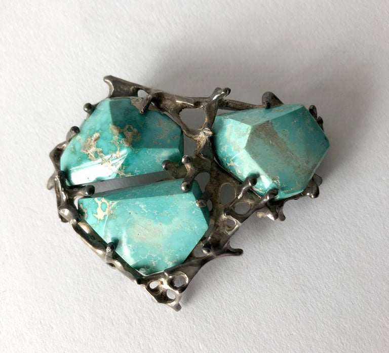 Cabochon John M. Morgan Sterling Silver Turquoise Brutalist Brooch For Sale
