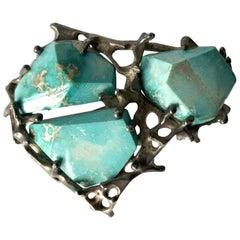 John M. Morgan Sterling Silver Turquoise Brutalist Brooch