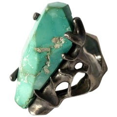 1970s John M. Morgan Sterling Silver Turquoise Brutalist Ring