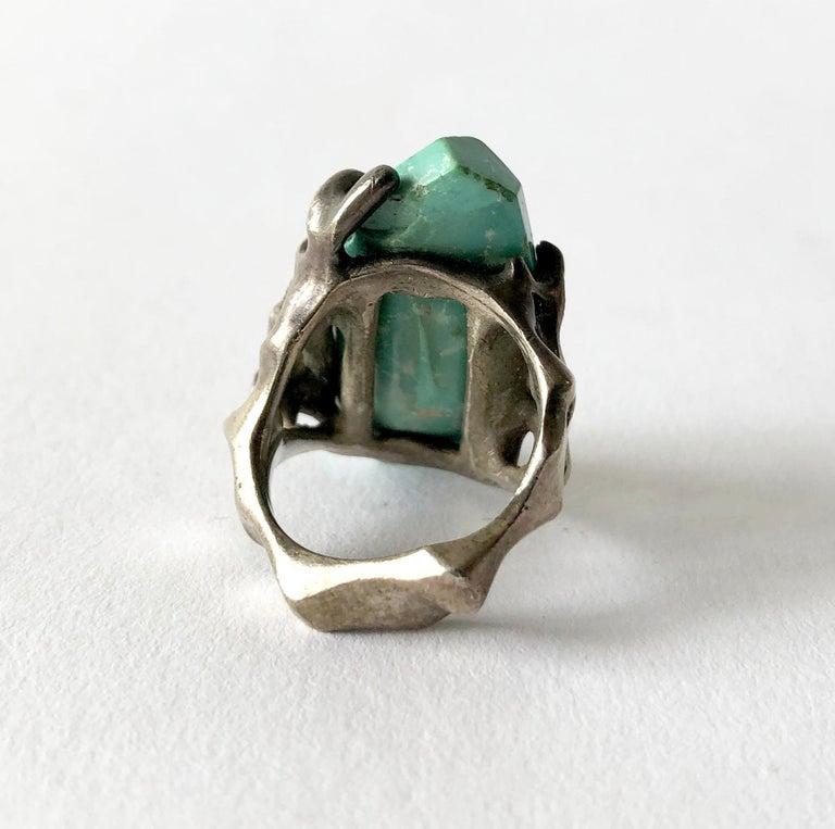 Women's 1970s John M. Morgan Sterling Silver Turquoise Brutalist Ring For Sale