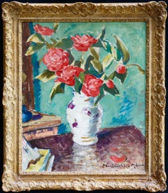 Red Roses in a Vase-20th Century Oil, Still Life of Flowers by Maclauchlan Milne