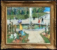 Une promenade dans le Parc - Paris, Impressionist Oil by John Maclauchlan Milne