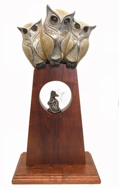 """John Maisano, """"Owl be Seeing You"""", Bronze Sculpture with wood base, 2018"""