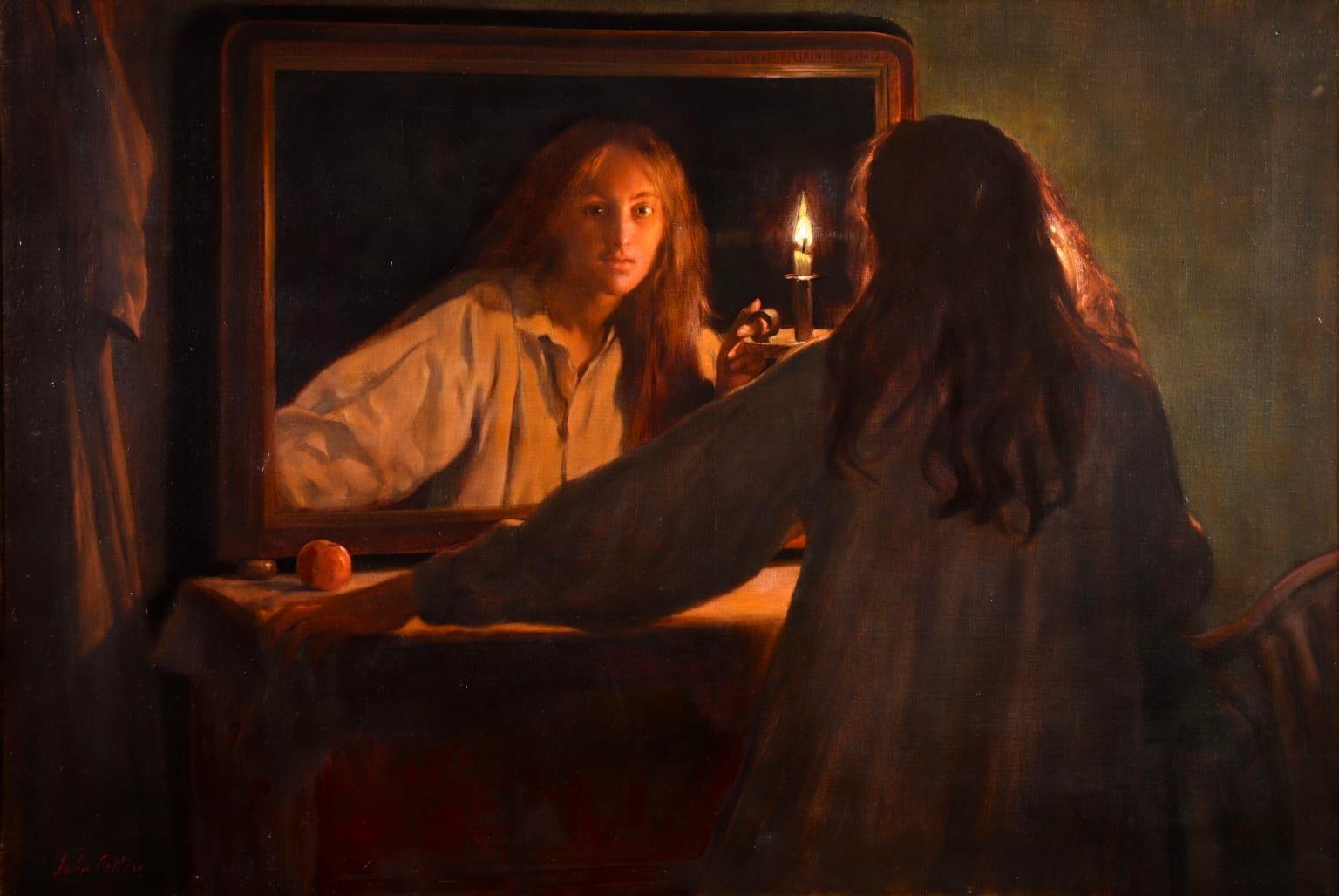 All Hallows' Eve - Pre-Raphaelite Oil, Figure in Interior by John Maler Collier