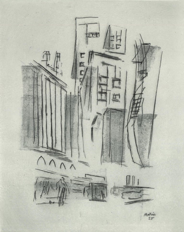 """JOHN MARIN  DOWNTOWN SYNTHESIS (Zigrosser 140) Etching with tonal areas, 1925. Signed in pencil lower left, and titled lower right """"Downtown N.Y.""""  Edition c. 20. RARE. Only 2 have appeared at auction in the past 30 years. Image size 9 1/2 x 7 5/8""""."""