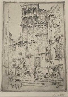 "John Marin ""Clock Tower of Santa Maria Zobenigo, Venice, Italy"" Etching c.1907"