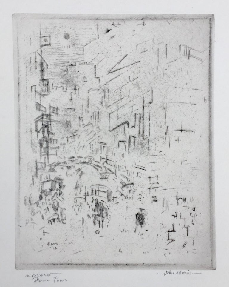 """JOHN MARIN  (1872 – 1953)            MOVEMENT DOWNTOWN 1914, (Not in Zigrosser)            Etching, signed and titled in pencil. Signed & dated in the plate lower left. 8 3/8 x 6 5/8"""", sheet            11 ¼"""" x 9 3/8"""""""