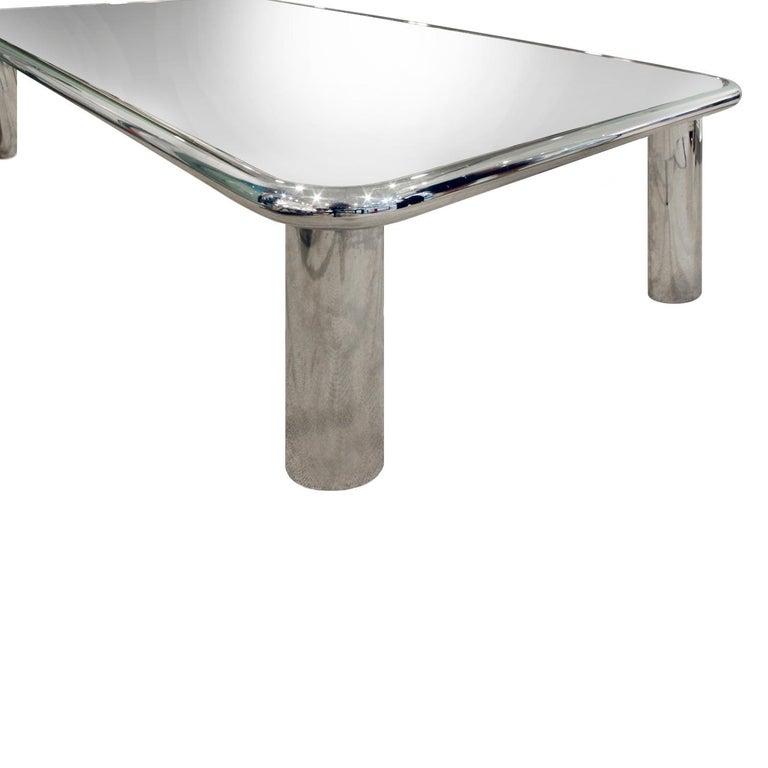 Mid-Century Modern John Mascheroni Large Chrome Coffee Table with Mirror Glass Top, 1970s