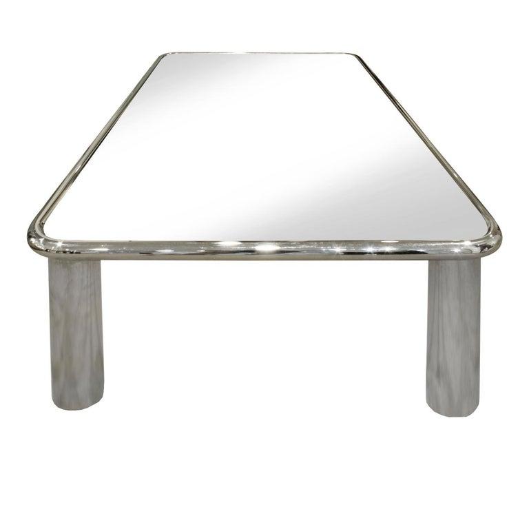 American John Mascheroni Large Chrome Coffee Table with Mirror Glass Top, 1970s